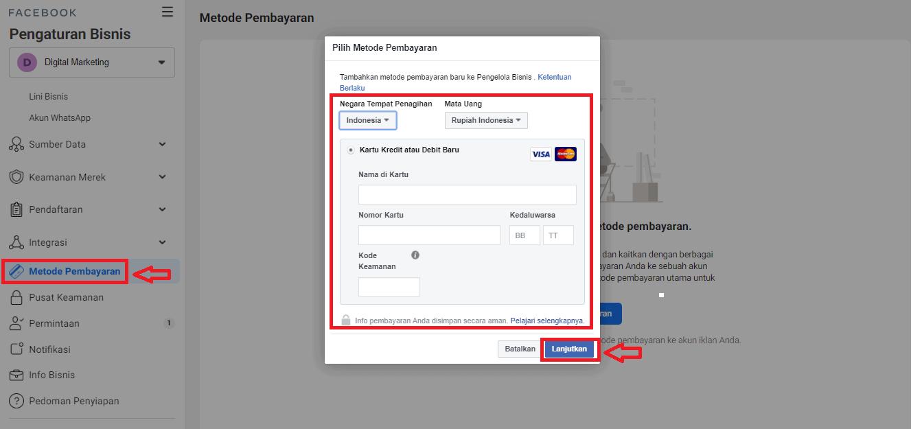 cara menambahkan kartu kredit ke akun facebook ads