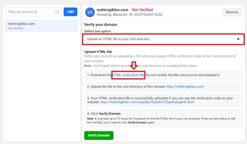 cara verifikasi website untuk facebook ads